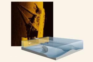 Humminbird Side Imaging mit einem versunkenen Segelboot auf dem Grund