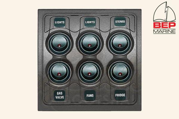 BEP Marine Schalttafel 1000 Series Contour 1000-6W, 6 Schalter, schwarz